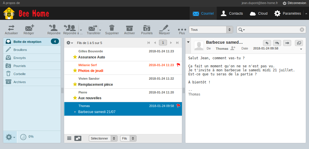 Webmail interface